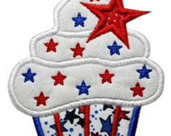 4th of July Cupcake Applique - 5 sizes