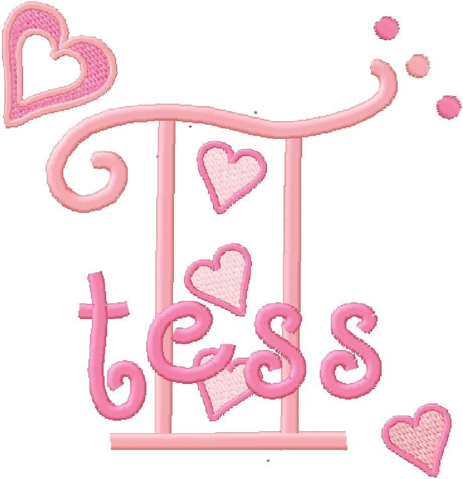Hearts monogram machine embroidery designs fonts