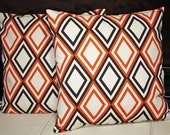 FREE U.S. SHIPPING Set of Two 26x26 inch Designer Pillow Covers - Sweet Potato Orange, Dark Chocolate Brown, Ivory/Natural.