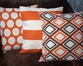 FREE SHIPPING Set of Three 16x16 inch Designer Coordinating Pillow Covers - Vertica Stripe, Polka Dots and Modern Diamond. All covers in, Sweet Potato, Natural/Cream and Chocolate Brown. Pillow Cases, Couch Cushions, Pillow Covers.