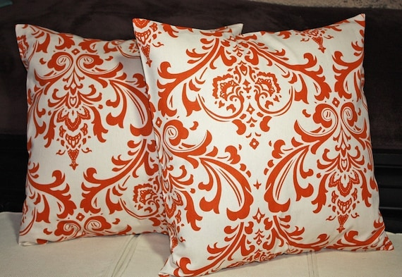 FREE SHIPPING Set of Two 18x18 inch Designer Pillow Covers - Sweet Potato Orange and Natural/Cream Damask Style Print. Pillow Covers, Pillow Case, Pillow Shams.