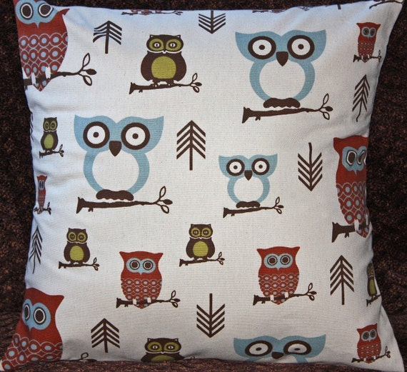 FREE SHIPPING One 18x18 inch Designer Pillow Cover - Contemporary, Funky - Hooty Owl Village. Pillow Case, Cushion Cover, Pillow Cover