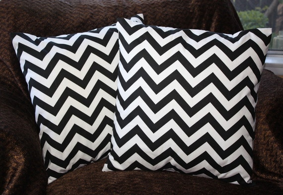 FREE SHIPPING - Set of Two 16x16 inch Designer Pillow Covers - Black and White Chevron Zig-Zag