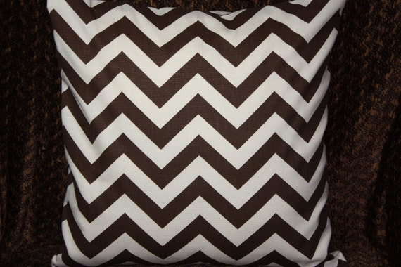 FREE U.S. SHIPPING Set of Two 20x20 inch Designer Pillow Covers - Contemporary, Funky and Modern - Brown and Natural Chevron Zig-Zag.