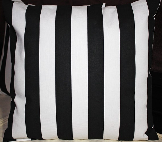 FREE U.S. SHIPPING - Set of Two 16x16 inch Designer Pillow Covers - Contemporary Classic Black and White Stripes.