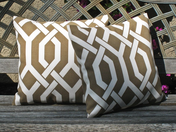 FREE U.S. SHIPPING - Set of Two 16x16 inch Indoor / Outdoor Pillow Covers. P Kaufmann Modern Woven Trellis Mink