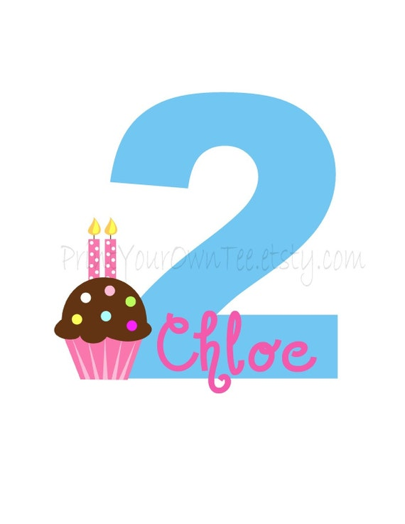 Birthday Number with Cupcake, Candles and Name Custom Design
