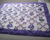 """lilac and purples sunbonnet sue scrappy lap quilt TOP 64""""X55""""(On Reserve until April 16th, 2012)"""
