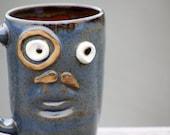 Blue coffee mug, mustache black friday thru cyber monday SALE