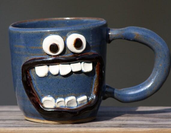 Blue Coffee Mug, LEFT-Handed Coffee Mug