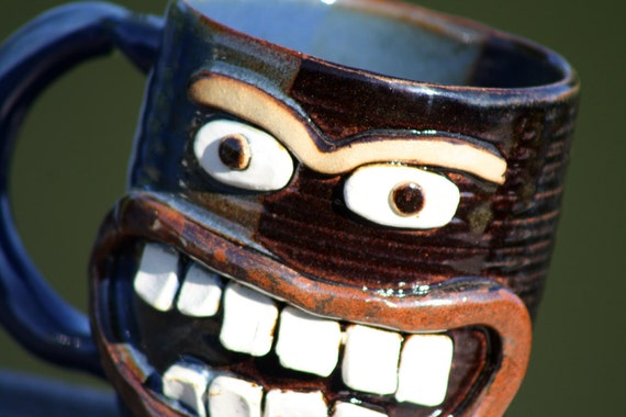 Funny Coffee Mug, Unibrow, Ceramic Pottery