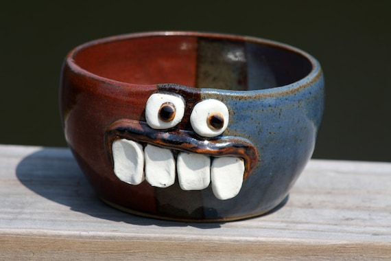 Funny Ceramic Cereal Bowl, Red White and Blue