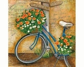 The Journey Bicycle with Flowers 8x10 or 11x14 Inspirational Hope Joy Peace Art Print
