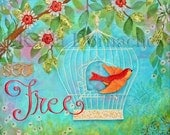 "Set Free Scripture Art Print - 8""x8"" - Bible Verse Wall Art Mixed Media Original Painting"