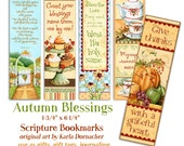 Five Autumn Blessings Christian Bible Bookmarks Digital Printable INSTANT DOWNLOAD