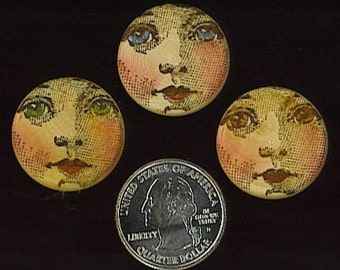 WOOD FACE CABS  altered art doll book mixed media assemblage set of three