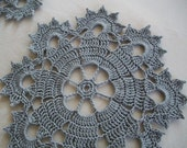 Small Crochet Doilies in Gray Thread -- Set of Two