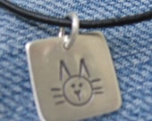 Hand Forged  Sterling Silver Square Kitty Cat Charm Hand Stamped Pendant for Necklace Bracelet Unique OOAK