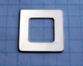 Sterling Silver Square Hand STAMPING Washer Blank 7/8 inch Frame Jewelry Making Supplies Personalized Pendants Connector Link 22 Gauge Qty 4