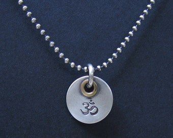 Thick Sterling Silver Pendant with Brass Rivet Unique Mixed Metal Design for Necklace INFINITY Symbol