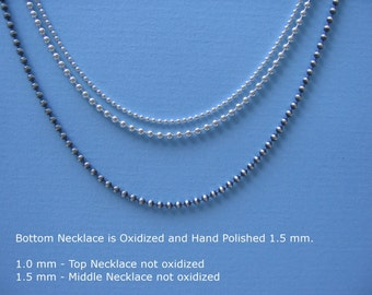 Oxidized and Polished Custom Sterling Silver Bead Chain 1.5mm Ball Necklace 26 inch