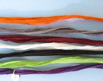 Hand Dyed Silk Necklace Pendant Bracelet Sewn Tie Wrist Hair Wrap Orange Grey Red White Black Green Purple