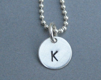 Personalized Sterling Silver 3/8 inch Smaller Hand Stamped Symbol or Letter Initial ID Charm COMPLETE Necklace or Bracelet