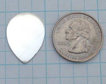 1in x .7 inch Sterling Silver Tear Drop Blank Guitar Pick Disc 25mm x 18mm Hand STAMP Jewelry Supplies Disk Charm Tag 24 Gauge Smooth Qty 8