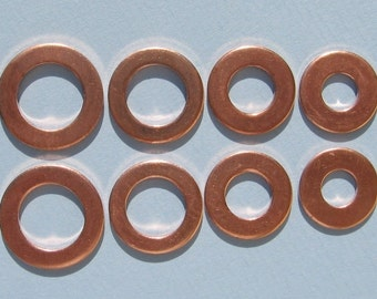 20 Piece Hand Stampng Copper Metal Washer Circle Blanks Round THICK VARIETY PACK  18mm, 16mm, 15mm, 13mm Jewelry Making Supplies Qty 20