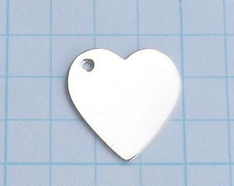 Sterling Silver HEARTS Blanks Discs Jewlery Making Supply 5/8 inch 16.5 mm Sweetheart Blank Heart Charm for Heart Pendant Qty 4 with HOLE