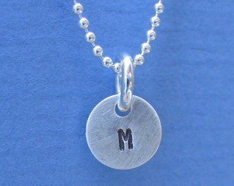 Tiny 1/4 inch Sterling Silver Pendants Personalized Hand Stamped Letter Initial ID Charm Quantity 2