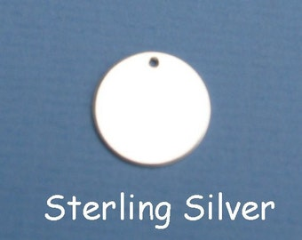 Sterling Silver Blanks All Metal Stamping Supplies Metal Blanks Hand Stamped Metal Jewelry Supplies Silver Disc Circle HOLE CHOOSE Disk SIZE