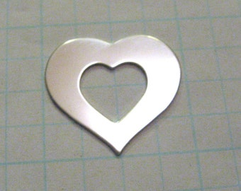 1 inch 22 gauge Sterling Silver HEART Washer Metal Blank Jewlery 1 x 7/8 Open Heart Charm Disc Tags Engrave Disk Hand STAMPING Qty 5