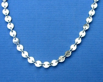 Sterling Silver CIRCLE Chain Necklace CUSTOM LENGTH