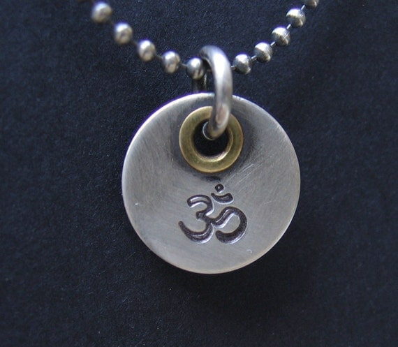 Hand Stamp Jewelry Made to Order Sterling Silver Pendant Unique Custom Charm Om Ohm Aum Symbol Letter Name Initial Id Tag Mixed Metal Design