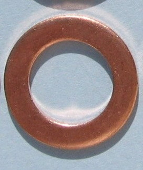 3/4 inch 16 gauge Copper Metal Hand STAMPING Washer Open Circle Blank Round 18 mm Connector Link Pendant Thick Hoop Jewelry Supplies Qty 12