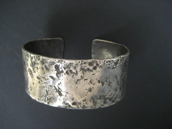 Sterling Silver Cuff Bracelet 1 Inch Chunky