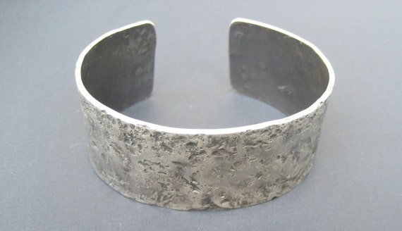 Custom Handmade Thick Sterling Silver Cuff Bracelet Unique Artisan Hammered Texture