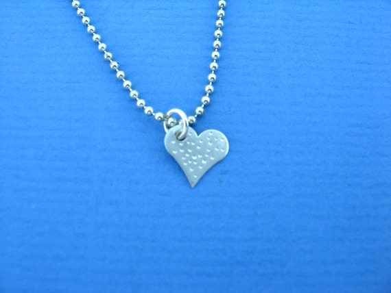 Tiny Hand Hammered Sterling Silver Heart Charm for Heart Necklace Heart Pendant or Sweetheart Bracelet