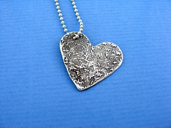 Handmade Sterling Silver Heart Pendant with Organic Silk Texture Custom Jewelry Pendant for Necklace
