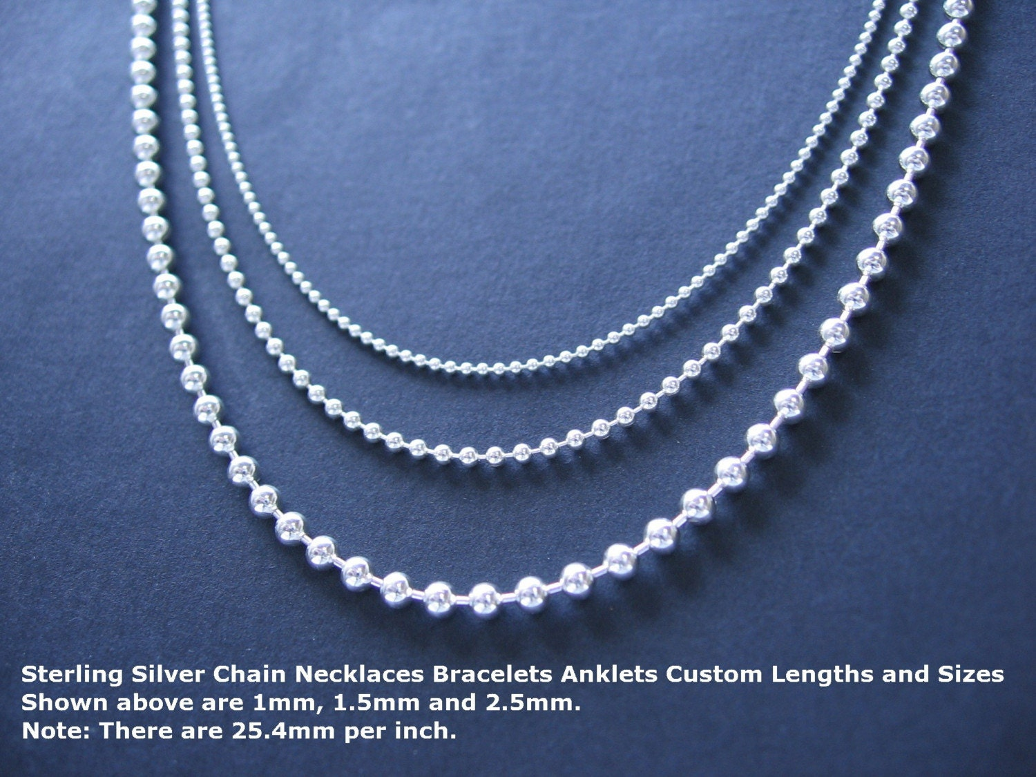 sterling silver bead chain necklace custom length standard