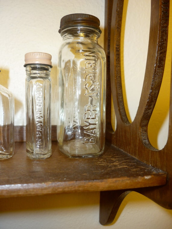 3 Vintage Bayer Aspirin Glass Bottles
