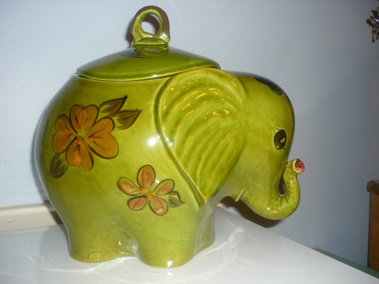 Vintage large green elephant cookie jar - Vintage elephant cookie jar ...