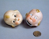 Two Antique Broken Googly doll heads Thuringia