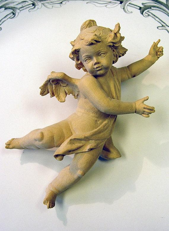 "Cherub, Putti or Angel  Carved wood Germany 7"""