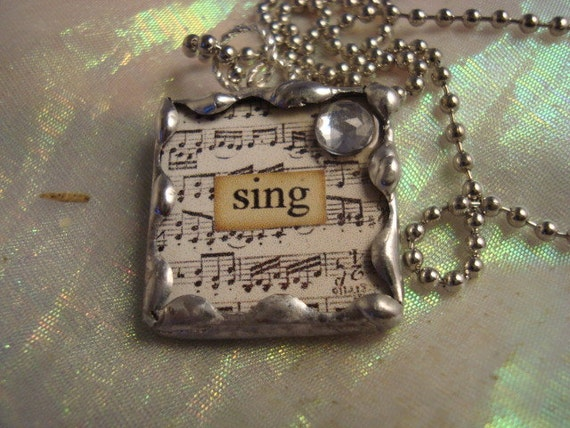 SING - Soldered Art Glass Pendant Necklace