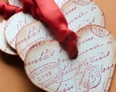French Script Vintage Style Hearts Set Of Five