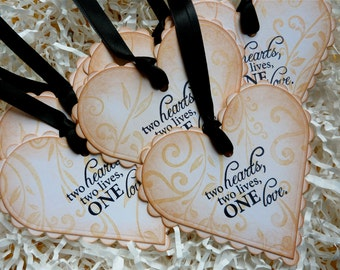 Love Hearts Wedding Wish Tree Tags Vintage Style  Set Of Five
