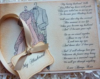 Card for Groom, Wedding card for Husband, Wedding Day Card, New Husband Card