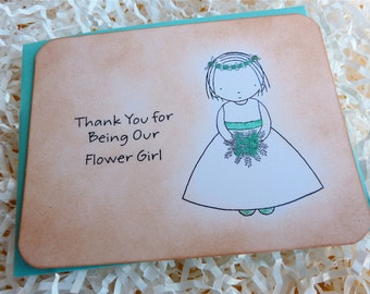 Flower Girl Thank You Flat Note Card Vintage Style with Glitter